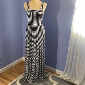 Loft Navy and White Striped Maxi Dress